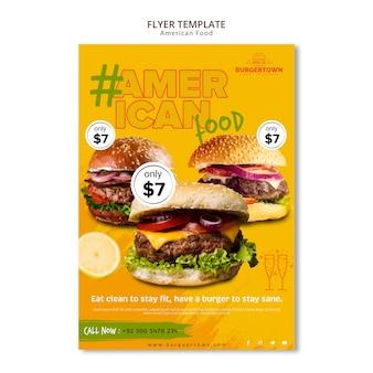 Американская еда флаер шаблон дизайна