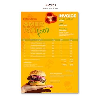 アメリカ料理の請求書テンプレート