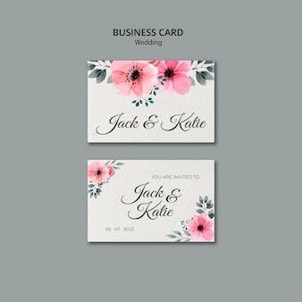 Свадебная концепция шаблон визитной карточки