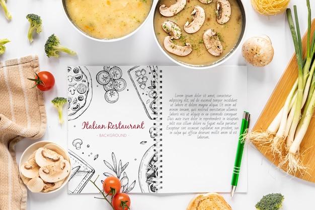 食材とレシピのモックアップの盛り合わせと上面スープ