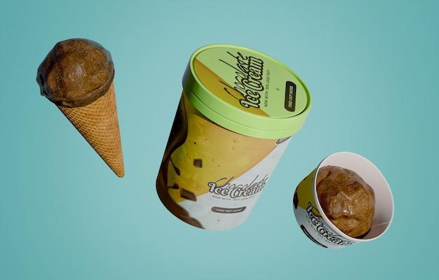 コーンとバケツのチョコレートアイスクリーム