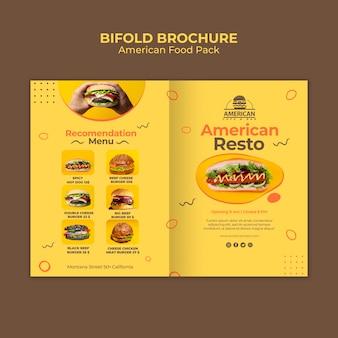 Шаблон брошюры с американской концепцией еды