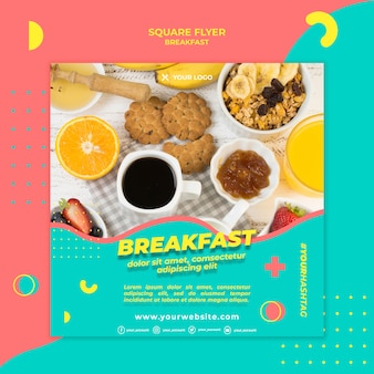 朝のコーヒーと食べ物の正方形のチラシテンプレート