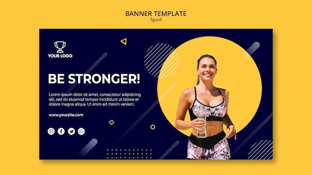 Спортивный баннер шаблон с бегущей женщиной
