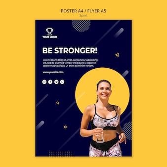 Спортивный плакат шаблон с бегущей женщиной