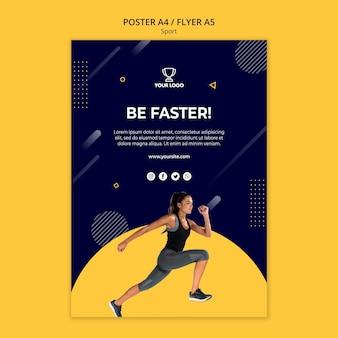 Спортивный плакат шаблон с женщиной, осуществляющих