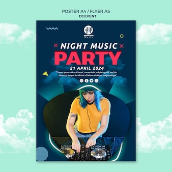 音楽パーティーコンセプトポスターチラシテンプレート