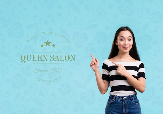 ヘアサロンのクィーンサロンモックアップ広告