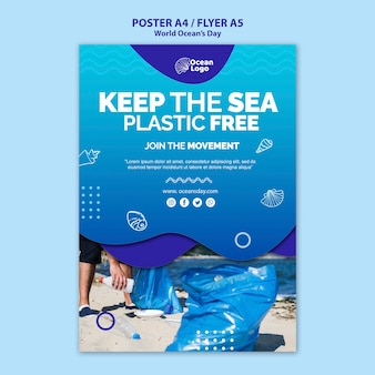 Шаблон плаката всемирного дня океанов