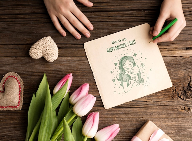 Вид сверху концепции день матери с цветами