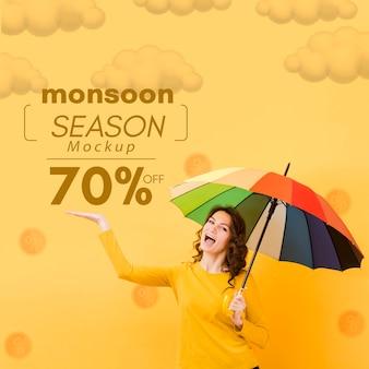 Счастливый желтый день макет продаж