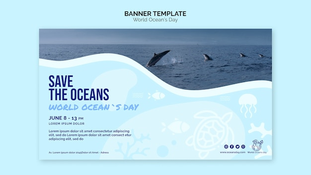 Шаблон баннера всемирного дня океана