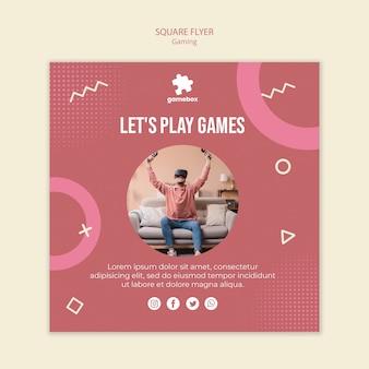 Шаблон игровой концепции квадратный флаер