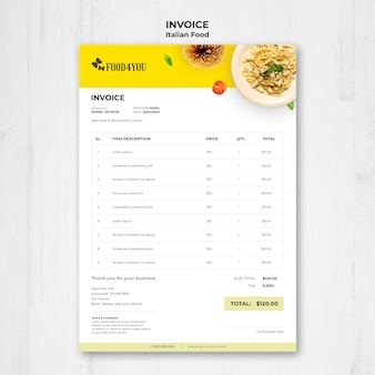 Шаблон счета-фактуры итальянской кухни