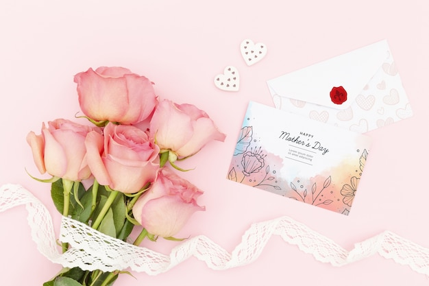 バラの花束と母の日おめでとう