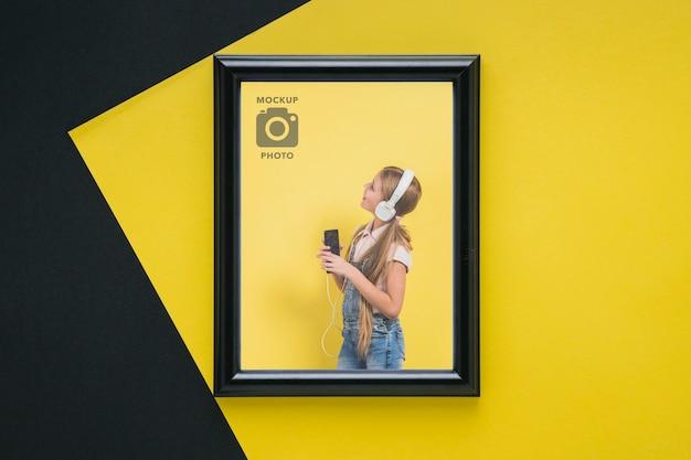 写真用の長方形フレームのフラットレイアウト