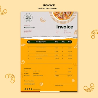 Шаблон счета в итальянском ресторане