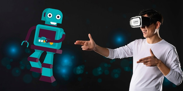 Концепция технологии с иллюстрацией робота