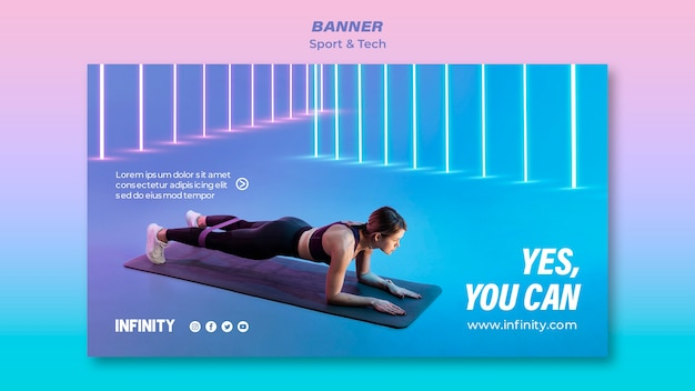 スポーツと運動のための水平バナーテンプレート