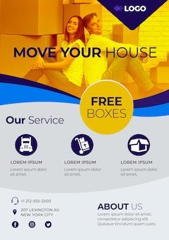 Переместить дом бизнес шаблон плаката