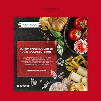 イタリア料理スクエアチラシデザイン