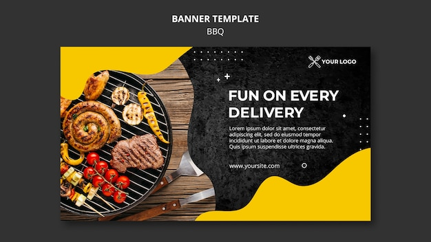Шаблон горизонтального баннера для барбекю ресторана