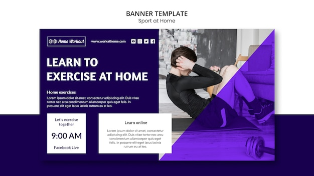 自宅でのバナーテンプレートデザインのスポーツ