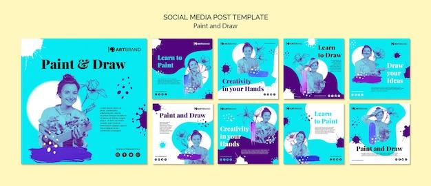 ソーシャルメディア投稿テンプレートのペイントと描画