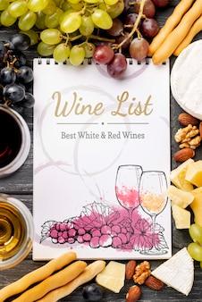 ノートとワインのボトルのフレーム