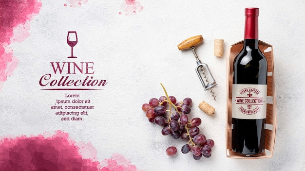 テーブルの上のワインのボトル