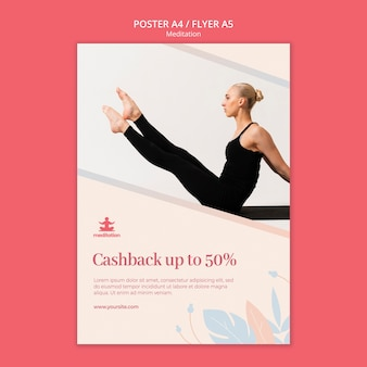 Шаблон плаката для занятий медитацией со скидкой
