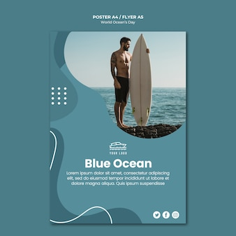 Шаблон плаката ко всемирному дню океана