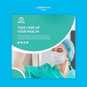 Концепция здравоохранения квадратный флаер стиль
