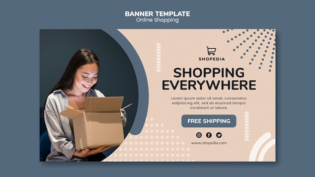Шаблон баннера с концепцией онлайн покупок