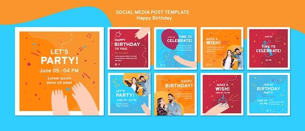 お誕生日おめでとうソーシャルメディアの投稿テンプレート