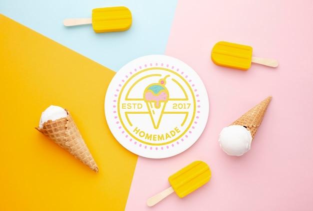 おいしいアイスクリームコンセプトのモックアップ