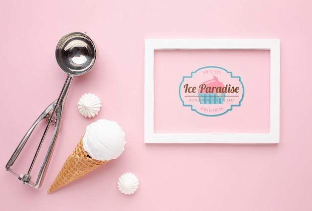 アイスクリームコンセプトのモックアップ