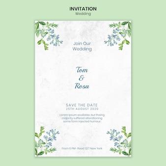 結婚式のコンセプトの招待状のテンプレート