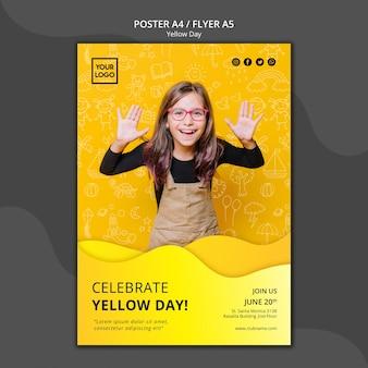 黄色の日コンセプトポスターテンプレート