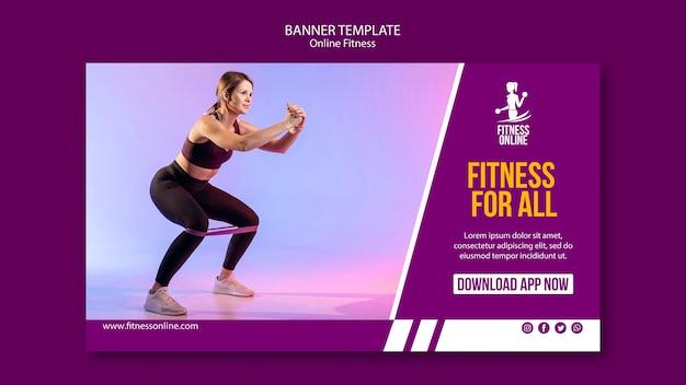 Шаблон фитнес-концепция онлайн баннер