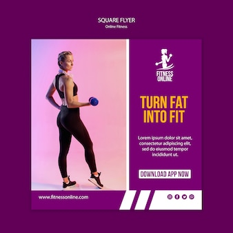 Онлайн фитнес концепция квадратный флаер шаблон