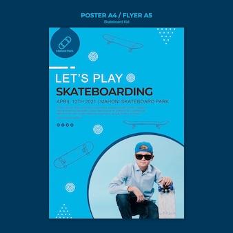 Скейтбордист постер шаблон темы