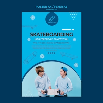 Скейтбордист плакат шаблон концепция