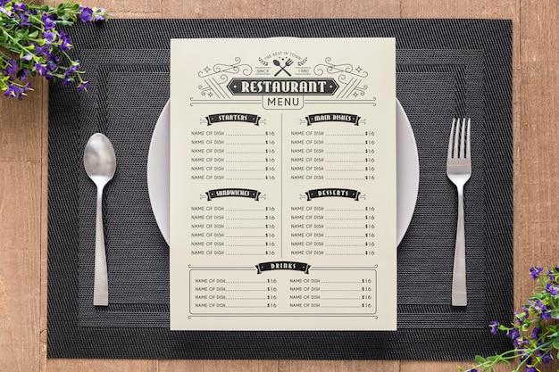 Концептуальный макет меню ресторана