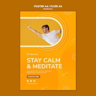 Сохраняйте спокойствие и медитируйте флаер шаблон