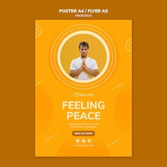 Шаблон плаката медитации чувство мира