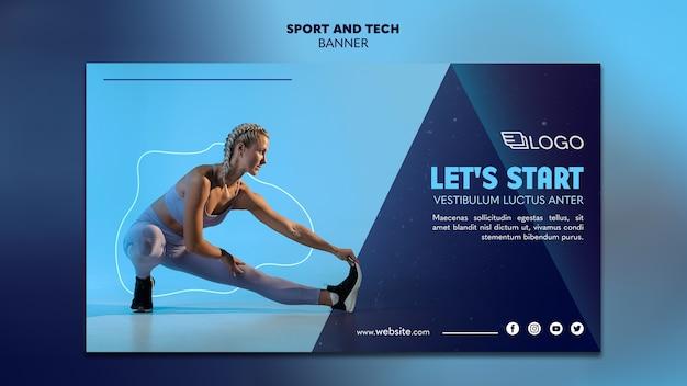 Спорт и техническая концепция шаблона баннера