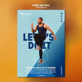 Спортивная и техническая тема шаблона постера
