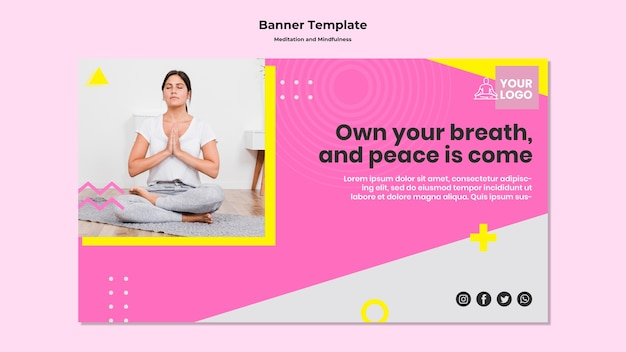 瞑想とマインドフルネスのための水平バナー
