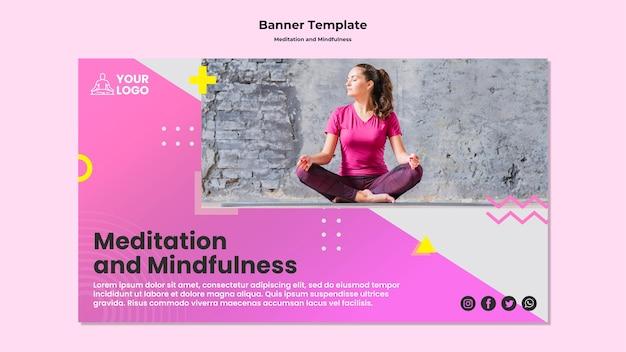瞑想とマインドフルネスのための水平バナーテンプレート
